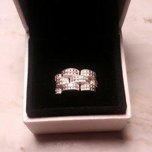 SS diamond cut link ring